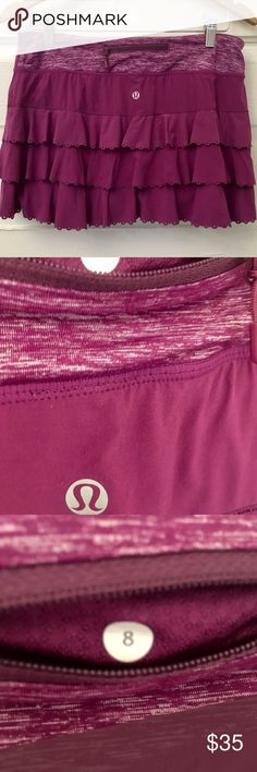 Women's Lululemon Tennis Skirt sz 8 /Berry Purple Women's Lululemon Tennis Skirt sz 8 in Berry Purple with scallops. Has extra hidden pocket for tennis balls on the side (refer to product image) 100% Guaranteed. Great Condition. Smoke Free Home. Ships within 24 hours of confirmation of purchase. lululemon athletica Skirts