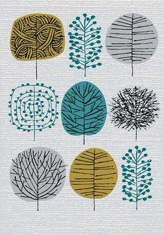 Bäume gezeichnet- Ich liebe Bäume limitierte Auflage Giclee print von EloiseRenouf