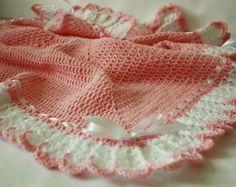 Crochet bebé manta / afgano blanco, rosa, bautizo, bautismo, bebé ducha regalo