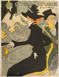 Divan Japonais (1892-1893). Henri de Toulouse-Lautrec (French, 1864-1901). Color lithograph. Chicago: Smart Museum of Art. Advertises a Parisian nightclub known for its pseudo-Japanese décor. The singer Jane Avril occupies the center, her orange hair contrasting boldly with the black silhouette of her body. Together, the curvilinear yellow chair, Avril's crumpled handbag, and the beard and cane of her companion, the writer Édouard Dujardin, create a pattern of flat colored shapes.