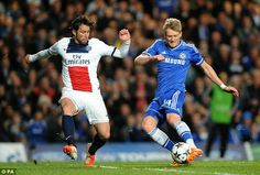 Almost another: Schurrle shoots at goal under pressure from PSG defender Maxwell