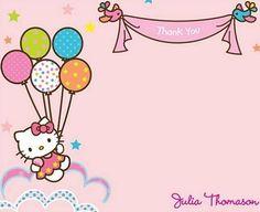 tarjetas-cumpeanos-hello-kitty-globos  - Invitaciones de cumpleaños Hello Kitty