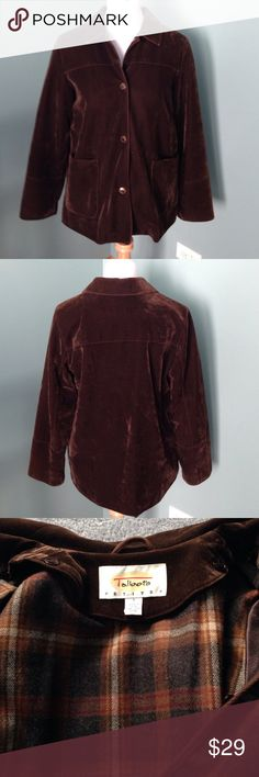 "Talbots Petite brown jacket Suede dark brown jacket with removable lining. Snap button in front with 2 pockets. Shoulder 16"" sleeve 24"" length 27"". Excellent condition. Perfect for fall Talbots Jackets & Coats Jean Jackets"