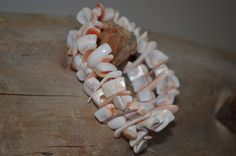 Stretch Pink Shell Bracelet  Vintage by SavedIndustriesInc on Etsy, $9.50