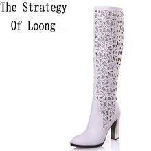 US $59.00     Get Stylish Clothes On A Budget!     FREE Shipping Worldwide     Buy one here---> http://ebonyemporium.com/products/cut-out-thick-high-heel-red-bottom-round-toe-rhinestone-white-black-summer-long-boots-2015-new-fashion-sexy-lady-boots-sxq0505/    #womens_boots
