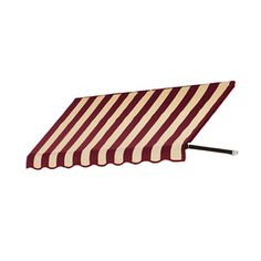 Awntech�3-ft 4-1/2-in Wide x 4-ft Projection Burgundy/Tan Striped Open Slope Window/Door Awning