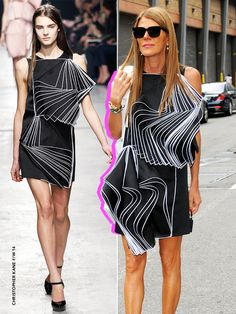 Anna Dello Russo sporting an accordion style from the Christopher Kane F/W '14 collection