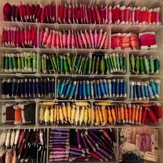 The organized bin, need to spool a bunch more. But oh man do I love a big box of color :) by GoldWillow, via Flickr