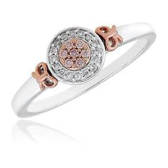 Reeds Diamond And Natural Pink Diamond 10k White And Rose Gold Ring... ($400) ❤ liked on Polyvore
