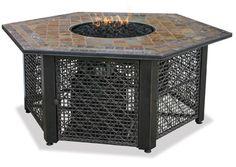Hexagonal Propane Fire Pit with Slate Tile Mantel $699.95