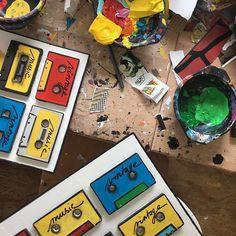 Travail en cours à latelier... #atelier #studio #artwork #painting #tapes #vintage #colors #upcycling #sophiecosta #newpopart #contemporaryart #artcontemporain #recyclage