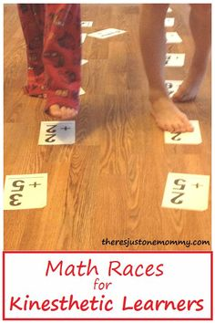 math races -- perfect math activity for kinesthetic learners; fun math fact activity to help learn math facts at home Math Activities For Kids, Math For Kids, Math Resources, Educational Activities, Kinesthetic Learning, Teaching Math, Teaching Ideas, Professor, Math Exercises
