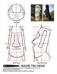 Chainsaw carving patterns - free Easter Island Tiki Head (originally described as Maori). Wood Carving Designs, Wood Carving Art, Stone Carving, Intarsia Wood Patterns, Wood Craft Patterns, Woodworking Workshop Plans, Woodworking Patterns, Woodworking Wood, Soap Carving Patterns