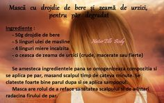 Masca cu drojdie de bere si zeama de urzici, pentru par degradat Beauty Care, Hair Beauty, Hair Masque, Natural Health Remedies, Erika, Eyes, Hair Styles, Plants, Hair Looks