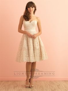 Strapless+Sweetheart+Knee+Length+Vintage+Lace+Wedding+Dress