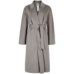 Armani Collezioni Grey Belted Cashmere Coat - Size 12 (184.950 RUB) ❤ liked on Polyvore featuring outerwear, coats, pure cashmere coat, grey cashmere coat, cashmere coats, grey coat and armani collezioni