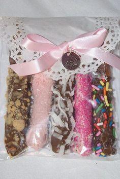 Chocolate covered pretzel favors