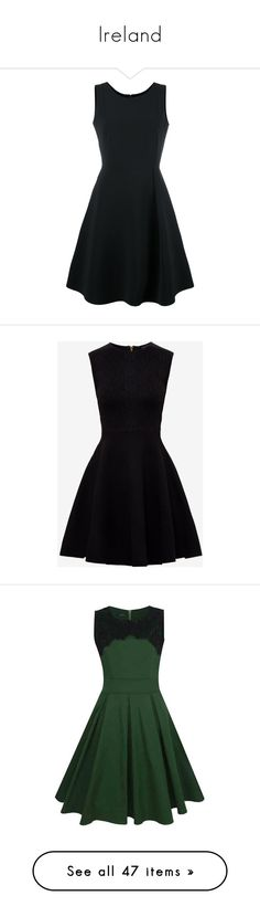 """Ireland"" by torib795 ❤ liked on Polyvore featuring dresses, vestidos, black, emporio armani dresses, mini dress, flare dresses, flared dresses, sleeveless short dress, sleeveless dress and ted baker"