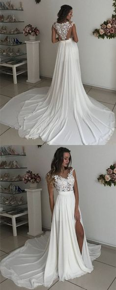 Boho Chic Ivory Chiffon Sweep Train Lace Appliques Beach Wedding Dresses 2018 Sexy Wedding Gowns