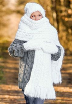 WHITE Hand Knitted Fuzzy Mohair Cable knit Set Hat Scarf and Mittens  SUPERTANYA 805e2fdf865