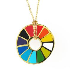 All the colors of the artist color wheel make an awesome rainbow in this colorful gold gilded pendant necklace - Color Wheel Pendant -