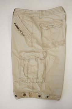 Ecko Unltd Raw Uncut Embroidered Logo Zipper Fly Mens 38 Tan Cargo Shorts 2273 #EckoUnltd #Cargo