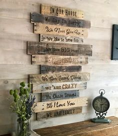 family/family rules sign/large wall decor/farmhouse decor/country home decor/Family Values/rustic decor/reclaimed wood/Housewarming Gift - All For Decorations Wooden Pallet Projects, Wooden Pallets, Wooden Diy, Pallet Diy Decor, Barn Board Projects, Diy Pallet Wall, 1001 Pallets, Pallet Tv, Rustic Walls