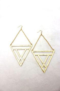 Tribal Warrior Gold Triangle Earrings