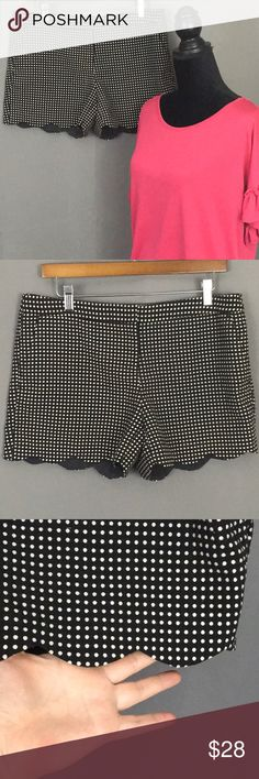 "Willi Smith black polka dot scalloped hem shorts Willi Smith black scalloped hem shorts with nice off white all over embroidered polka dots  2 front and 2 back pockets Measurements laying flat: Waist 16.5"" Inseam 3.5"" Total length 12"" Willi Smith Shorts"