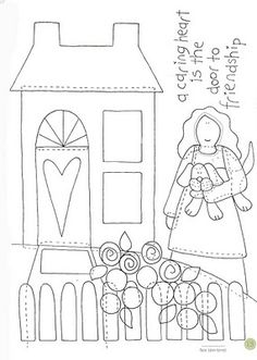 coloring sheet opportunity -- this reminded me of Strega Nona Meets Her Match Applique Templates, Applique Patterns, Applique Designs, Quilt Patterns, Embroidery Designs, Sewing Patterns, Wool Applique, Applique Quilts, Embroidery Applique
