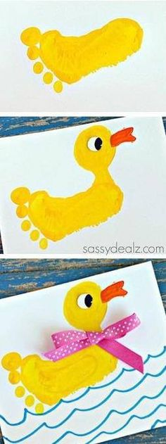 Footprint duck craft for kids baby art projects toddler art projects baby art toddler art classroom crafts kids apple footprints infant art projects food and flavors unit babyart projects Kids Crafts, Duck Crafts, Daycare Crafts, Baby Crafts, Toddler Crafts, Preschool Crafts, Easter Crafts, Projects For Kids, Craft Projects