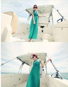 Korean V-neck Green Girls Floor-length Long Dresses  Item Code:#QQ56315+Green  Price: US$13.90  Shipping Weight: 0.45KG