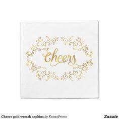 Cheers gold wreath napkins