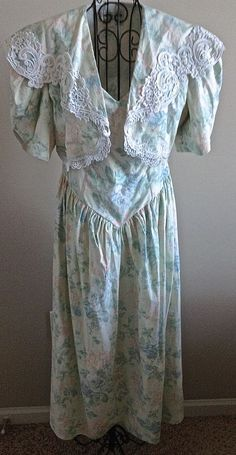 Vintage Scott McClintock 2 Piece Maxi Dress Gown Cropped Jacket Floral Lace12 #ScottMcClintock