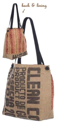 I just got some burlap coffee bags and can't wait to make use of them like this.