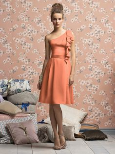 Tia, Different Orange than this and in chiffon could be cute :D  Lela Rose Bridesmaids Style LR140XX    #orange #bridesmaid #dress