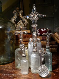 Greyfreth Cross Bottles & Rough Luxe Objects of Beauty Altered Bottles, Antique Bottles, Vintage Bottles, Bottles And Jars, Glass Bottles, Perfume Bottles, Pink Perfume, Vintage Perfume, Antique Glass
