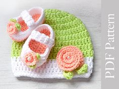 Crochet Baby Hat and Booties Newborn Size Photo Prop by TinySmiley