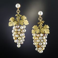 Dionysus would go wild for these fabulous grape cluster drop earrings artfully composed of variegated natural pearls crowned by textured yellow gold grape leaves. Victorian (circa 1 inch long, light, and lovely. The pearl stud tops are newer. Victorian Jewelry, Antique Jewelry, Vintage Jewelry, Jewelry Armoire, Agate Jewelry, Enamel Jewelry, Gold Jewelry, Glass Jewelry, Jewelry Rings