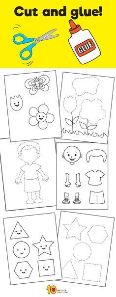 cut & glue Printables #preschool #finemotorskills#kidsprintables #kidsactivities #kidscrafts#papercraft