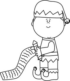 Black and White Elf with Christmas List