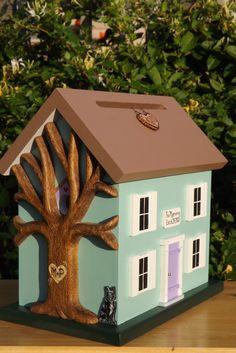 Wedding Card Box Birdhouse with Heart by mulberrylanefolkart, $159.00