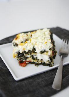 Spinach and Feta Lasagna -    All things Greek, I love...feta cheese & fresh spinach!    Recipe @  http://www.amerrymishapblog.com/