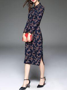 Dark Blue V Neck Long Sleeve Floral-print H-line Midi Dress