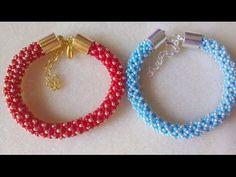 Netted beaded bracelet with Swarovski and seedbeads beading tutorial Netted Bracelet, Beaded Earrings, Beaded Bracelets, Seed Bead Jewelry, Bead Jewellery, Seed Beads, Beaded Jewelry Patterns, Bracelet Patterns, Beaded Jewelry