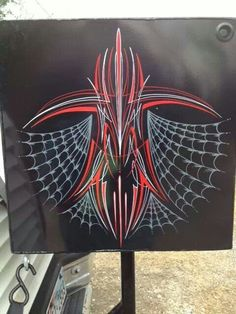 Just the pinstripe Spider Web. Pinstripe Art, Paint Themes, Pinstriping Designs, Garage Art, Airbrush Art, Lowbrow Art, Lost Art, Automotive Art, Car Painting