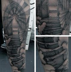 Awesome Mens Forearm Gates Of Heaven Tattoos
