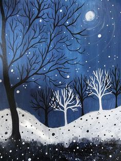 winter art for kids winter landscape paintings for kids Line Art Projects, Winter Szenen, Winter Night, Winter Ideas, Winter Painting, Painting Art, Painting Snow, Winter Landscape, Christmas Landscape