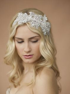 Glistening Beaded Sculptured Lace Wedding Headband with Crystals - - Affordable Elegance Bridal -