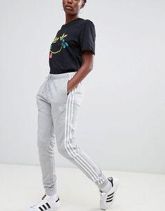 4e0848c9b2a adidas Originals Three Stripe Cuffed Sweat Pants In Gray